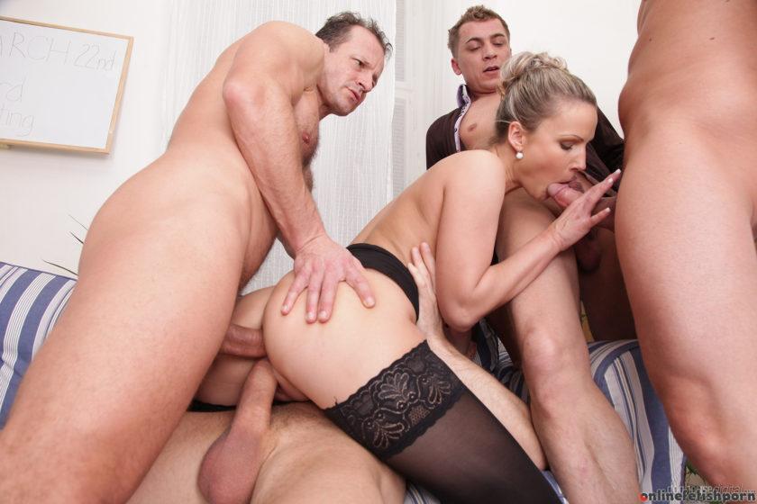 Doghousedigital.com – 4 On 1 Gang Bangs, Scene #02 Samantha Jolie & George Uhl & Georgio Black 2013 Double Penetration